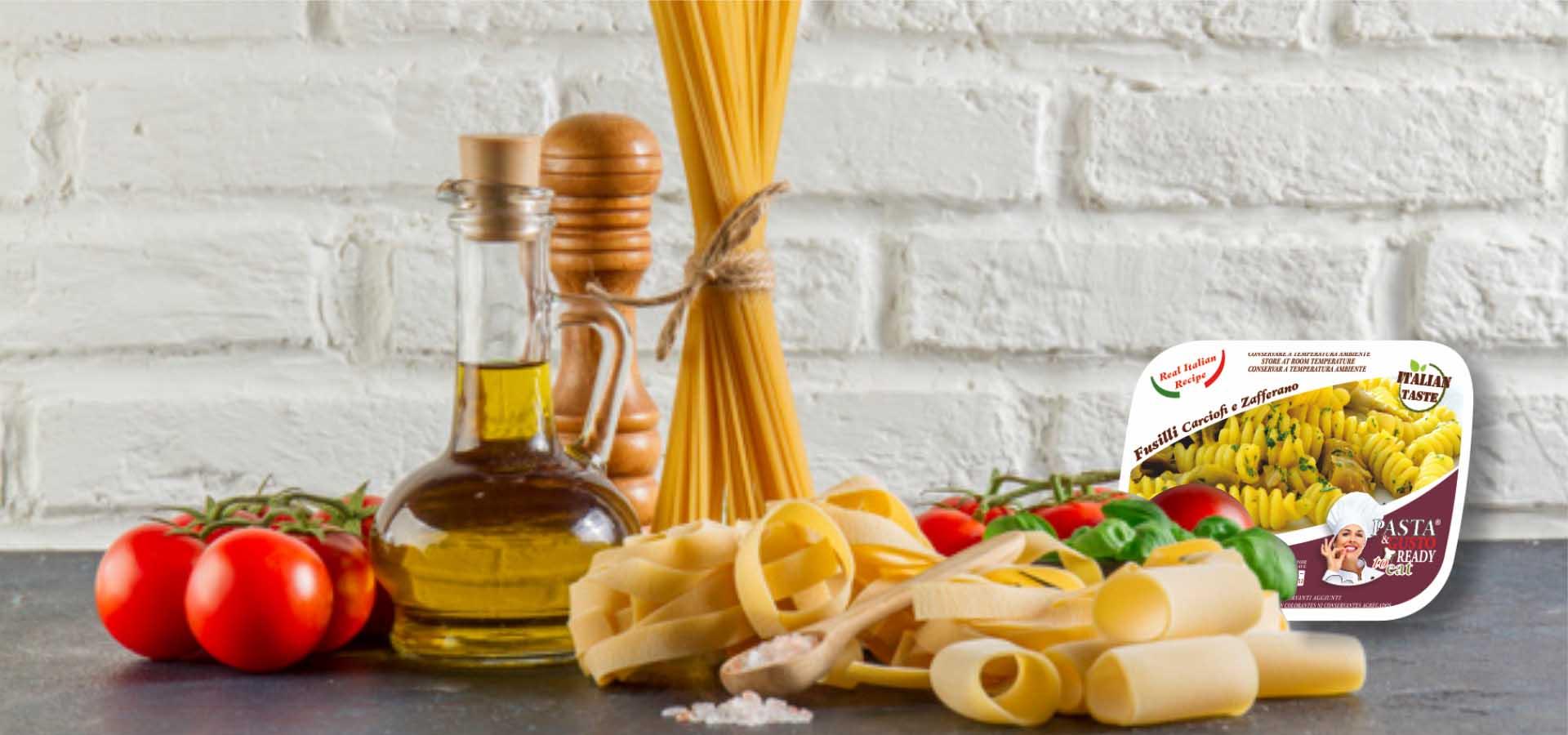Piatti Pronti Fuori Frigo su Tavolo Pasta Ready to Eat